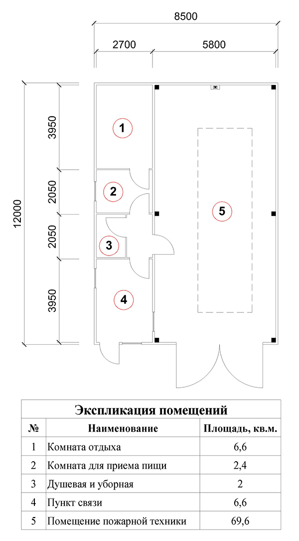 План помещений быстровозводимого пожарного депо на 1 выезд