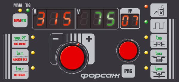 Лицевая панель сварочного инвертора ФОРСАЖ-315АД