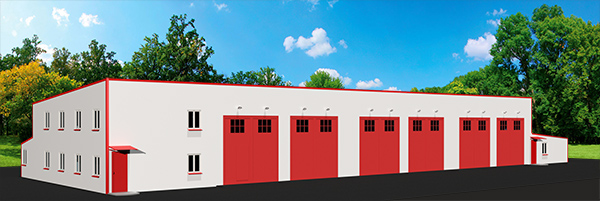 Быстровозводимое пожарное депо на 6 выездов