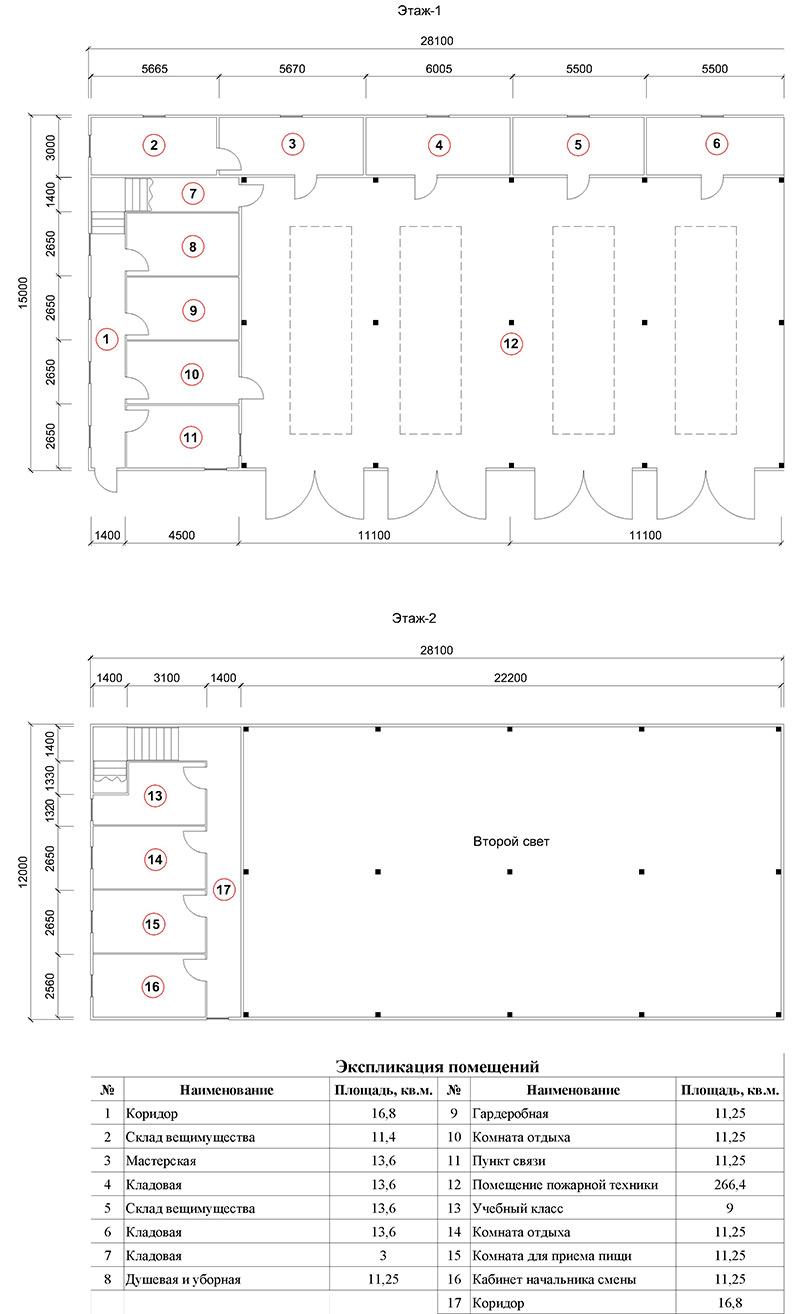 План помещений быстровозводимого пожарного депо на 4 выезда